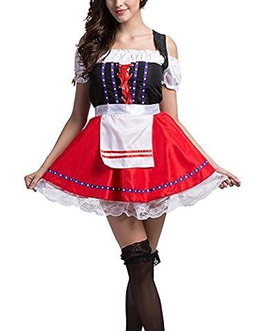 Robe Set De Femme Dirndl Bière Oktoberfest Halloween Serveuse Wench Festival Costume Rouge S