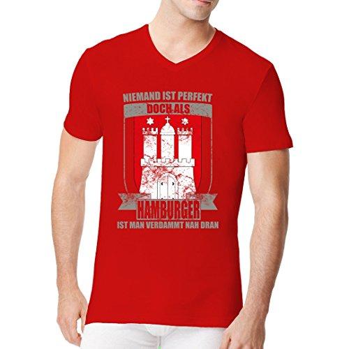 Fun Sprüche Männer V-Neck Shirt - Wappen Perfekter Hamburger by Im-Shirt Rot