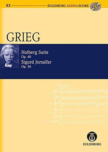 Holberg Suite / Sigurd Jorsalfar: op. 40 / op. 56. Streichorchester. Studienpartitur + CD. (Eulenburg Audio+Score)