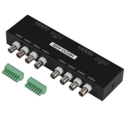 Pokerty Passiver Transceiver, BNC zu RJ45 CAT5 / 6 UTP Passiver Transceiver Video Balun für AHD/HDCVI/HDTVI CCTV Kamera(8-CH) -