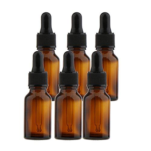 asflaschen für ätherische Öle Leere Flaschen mit Pipetten für aromaöl und duftöl nachfüllbare Parfüm Pipetten Fläschchen - Braun 15ml ()