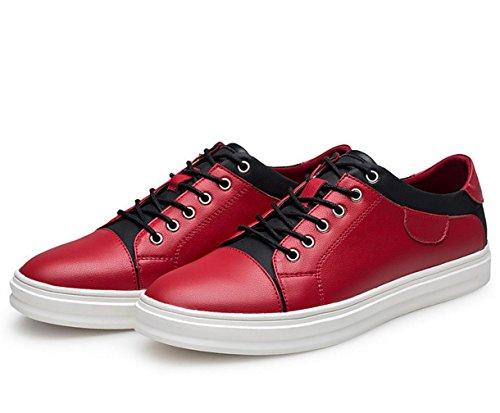WZG Männer Herbst und Winter weiße Schuhe handgemachte Leder Freizeitschuhe, Sportschuhe flache Spitze Schuhe Wild Red