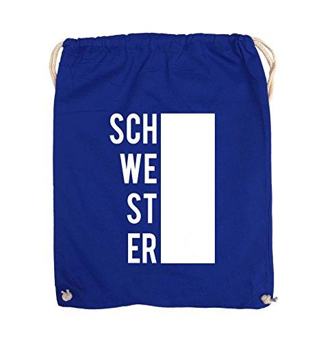 Comedy Bags - SCHWESTER - BLOCK - Turnbeutel - 37x46cm - Farbe: Schwarz / Pink Royalblau / Weiss