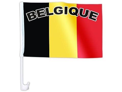 Drapeau Pays accéssoire pour décoration de voiture Tissu synthétique impermeable Clips de fixation vitre ou carosserie, choisir:AFL-12 Belgique