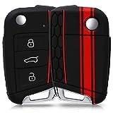 kwmobile Funda para Llave de 3 Botones para Coche VW Golf 7 MK7 - Carcasa Protectora [Suave] de [Silicona] - Case de Mando de Auto con diseño de Rally