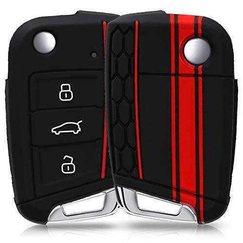 kwmobile Accessoire clé de Voiture pour VW Golf 7 MK7 - Coque pour Clef de Voiture VW Golf 7 MK7 3-Bouton en Silicone Rouge-Noir - Étui de Protection Souple