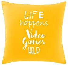 Hippowarehouse Life Happens Video Games Help Printed bedroom accessory cushion cover case 41x41cm
