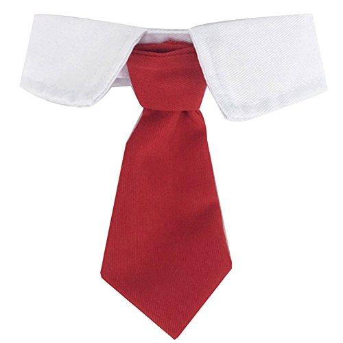 ZuckerTi Schick Hund Katze Haustier Pet Krawatte Halsschleife Krawatte Fliege Streifen Bow Tie Halsschmuck Zubehör in 3 Farben (S - Halsumfang 26-30cm, Rot-Krawatte)