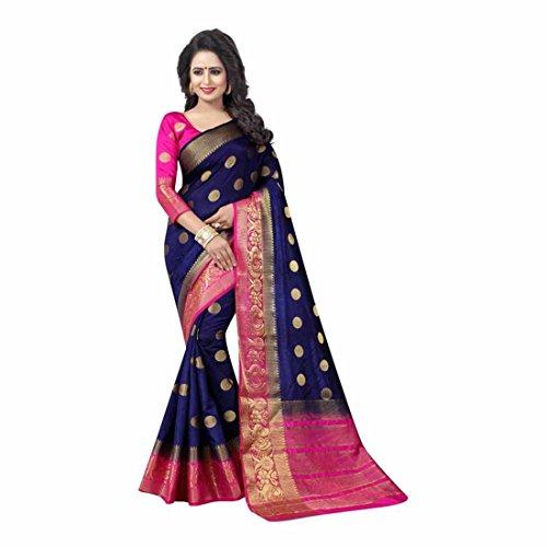 Self Design Kanjivaram Art Silk Saree (Dark Blue) Blue Silk Sari Saree