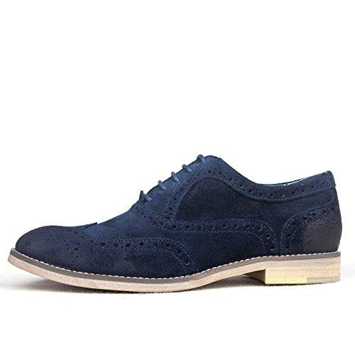 l'Inghilterra in pelle scarpe/Carne bovina scamosciata distressed vintage cucita scarpe di cuoio alla fine di-B Lunghezza piede=25.8CM(10.2Inch)