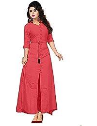 Feministaaa Women's Rayon Long Sleeve V-neck Full Stitch Dress (Tomato, Free Size)