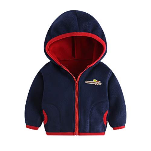 Alwayswin Kleinkind Baby Mädchen Jungen Fleece Jacke Farbig Warme Mantel Infant Winter Kapuzenjacke Outwear Kinder Jacken mit Reißverschluss Coat Windjacke Fleecejacke Sweatjacke -