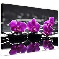Stampa da parete su tela con motivo floreale, colore: rose su pietre nere e acqua Europeo 8- A1 - 30