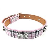 LA VIE Collares Básicos de Perros Collar de Cuero PU Resistente Ajustable con Hermoso Cristal Huesos para Mascotas Perritos y Gatos Ofrece un Placa de Identificación para Mascotas Collar en Rosa S