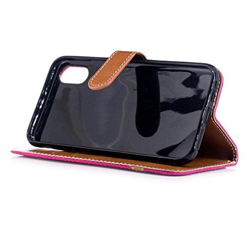 Apple iPhone 8 Hülle, SATURCASE Prämie Jeans Stil PU Lederhülle Ledertasche Magnetverschluss Flip Cover Brieftasche Case Handy Tasche Schutzhülle Handyhülle mit Standfunktion Kartenfächer und Handschl Rose
