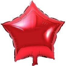 TRIXES Paquete de 10 Globos Estrella Metálica Roja Pequeños 25cm para Cumpleaños Fiestas Bodas