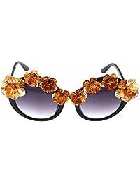 edbea5b165 Gafas de sol retro Gafas de sol redondas hechas a mano del metal de la flor  Baroque para las mujeres Gafas de sol del…