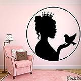 yaoxingfu Princess Queen WallFor Girls Dormitorio Bird Etiqueta de La Pared Decoración del Hogar Decoración de La Pared Extraíble Arte Mural Wallpaper42x42 cm