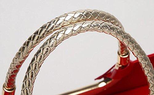 Damen-Tasche Mode Leder Lackleder Handtasche Umhängetasche Exquisite Reißverschluss Luxus Red1