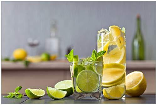 Wallario Acrylglasbild Cocktails mit Limetten und Zitronen - 60 x 90 cm in Premium-Qualität: Brillante Farben, freischwebende Optik