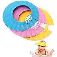 EROSPA® Baby Bade-Dusch-Haube Kopfhaube Wasser-Spritzschutz verstellbar Shampoo-Augenschutz beim Haare waschen weich (Blau)