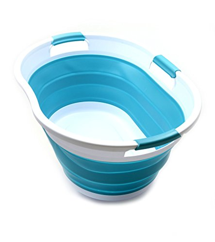 SAMMART 36L Collapsible 3 Handled Plastic Laundry Basket-Foldable Pop Up Storage Container-Portable Washing Tub-Space Saving Basket/Water Capacity 27L (Hellblau) -