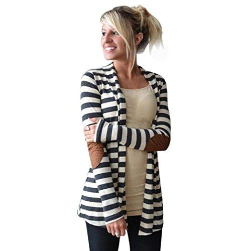Coat Damen,Binggong Frauen Beiläufige Lange Hülsen Schwarz Weiß Gestreifte Strickjacken Patchwork Slim Outwear offene Strickjacke Pullover Mantel mit Taschen (Sexy weiß, - Pullover Mantel Damen
