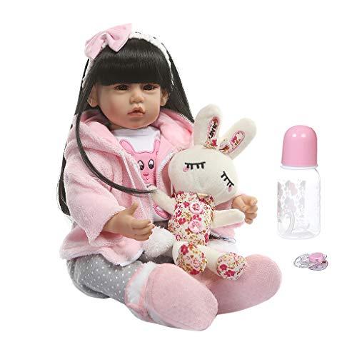 XXguang-50Cm Entzückende Silikon-Neugeborene Wiedergeborene Puppe, Lebensechte Mädchen-Puppen-Kleinkind-Geschenk-Nippel-Flasche Frühe Kindheit Scherzt Spielwaren