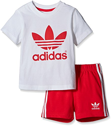 adidas Kinder Infant T-Shirt + Short Set Kleinkinder Anzüge & Bodies, Weiß/Rot, 86