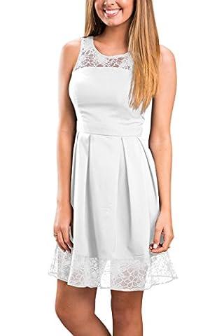 ECOWISH Damen Sommerkleid Freizeitkleid Cocktailkleid Lace Spitzen Elegant Ärmellos Rundhals Knielang Kleid Weiß1