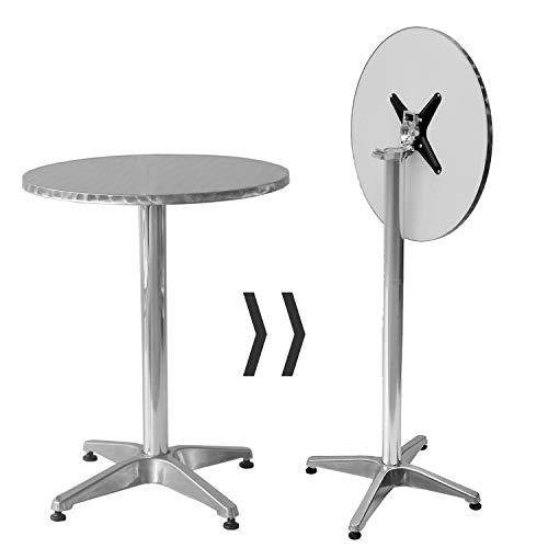 wolketon 2 in 1 Stehtisch Aluminium Bartisch Ø60cm H70/110cm Höhenverstellbar Tische klappbar Beistelltisch Rund Klapptisch stabil Platzsparend verstaubar -