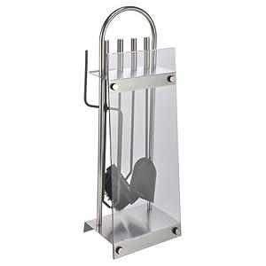 Haushalt International – Soporte y juego de utensilios para chimeneas (5 piezas) Fabricado en acero inoxidable y cristal