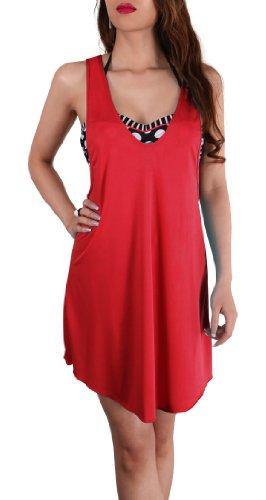 SODACODA Mesdames belle aérée loisirs de plage de dissimulation de bikini robe / Haut en couleurs rafraîchissantes - Taille (36-42) Rouge