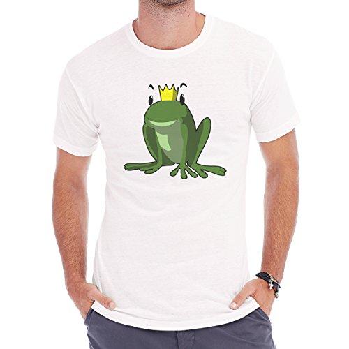 Frog Prince Sitting Smilin Happy Herren T-Shirt Weiß