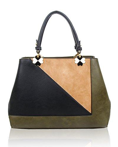 Damen Violet Color Block Handbag Tote, Grün (Olive), 12x28x30 centimeters Swankyswans