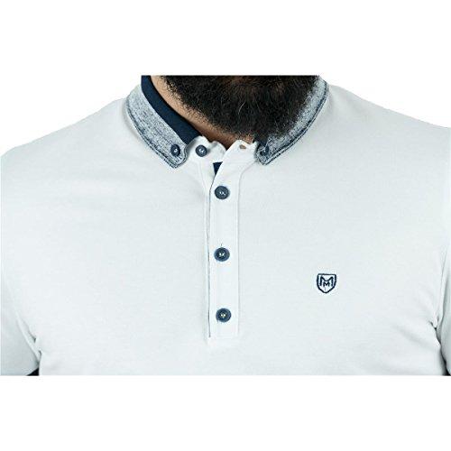 MCR Moda Crise Herren Poloshirt Kurzarm Klassiker in verschiedenen Farben Slim Fit Hellblau, Weiß, Grün, Schwarz White
