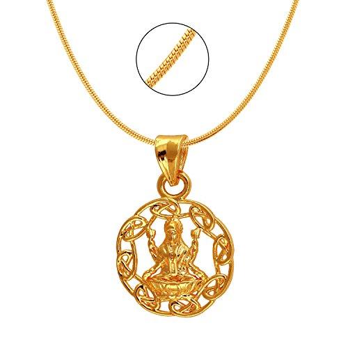 Mahi Exa Collection Laxmi Circle Gold Plated Religious God Pendant for Men & Women PS6012022G