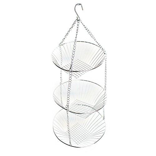 BESTONZON 3-Tier-Draht zum Aufhängen Korb Obst Swing Schüssel Gemüse Küche Aufbewahrungskorb (3-tier-draht-körbe)