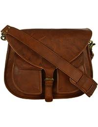 Genuine Leather Unisex Sling Bag (Brown, VE123)