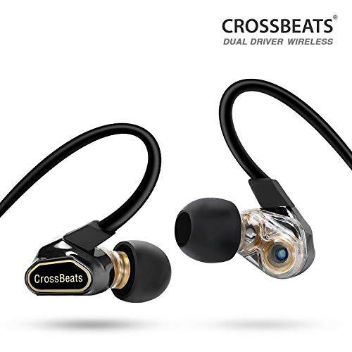CrossBeats Fusion-Bluetooth Headphones-Dual Driver-Wireless Earphones with Microphones -Super Bass- Noise Cancelling-IPX5 Swearproof-Earbuds Headset for Mobile (Magic Black)
