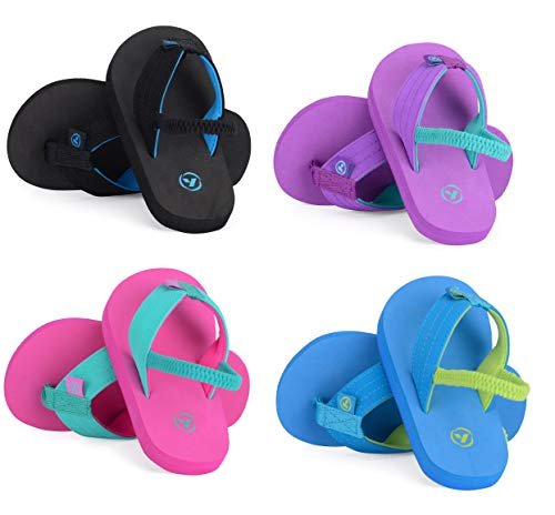 Yello Infants FLIP Flops with Heel Strap- Toddler Beach Sandals Girls Boys