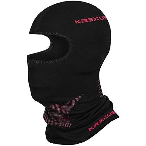 KREXUS TECHNICAL LINE Passamontagna / Balaclava Sci - Moto - Bicicletta - Jogging - Snowboard (Nero/Rosso, M)
