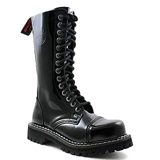 ANGRY ITCH - 14-Loch Gothic Punk Army Ranger Lackleder Schwarz Armee Stiefel mit RV & Stahlkappe - Größen 36-48 - Made in EU!, EU-Größe:EU-43
