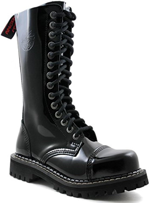 ANGRY ITCH 14 Loch Gothic Punk Army Ranger Lackleder Schwarz Armee Stiefel mit RV  Stahlkappe   Größen 36 48