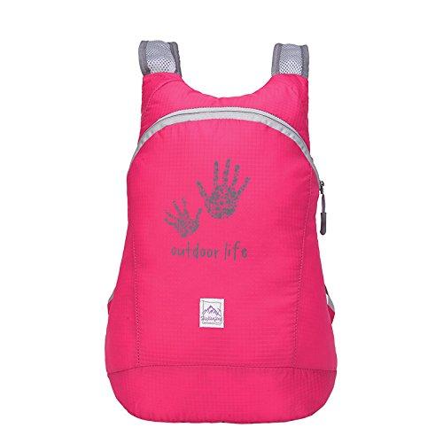 Pieghevole zaino in nylon, impermeabile per sport all' aperto, spazioso scuola escursionismo trekking campeggio viaggio borsa per bicicletta, Fluorescent Green Rose Red
