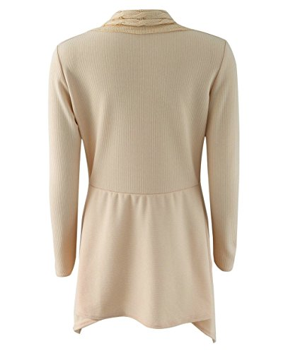 LANISEN Damen Langarm Almgwand Asymmetrisch Strickjacke Pullover Sweatshirt S-XL Khaki
