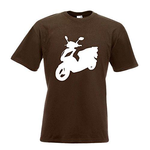 KIWISTAR - Scooter Custom Roller T-Shirt in 15 verschiedenen Farben - Herren Funshirt bedruckt Design Sprüche Spruch Motive Oberteil Baumwolle Print Größe S M L XL XXL Chocolate