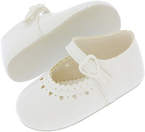 M803Baby Girl Shoes | Weiche Sohle Erste Kinderwagen Schuhe von 0–3Monate | Fünf Farben weiße Lacklederoptik