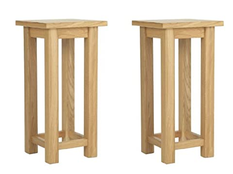 Yabbyou Pair Of Solid Oak Lamp/ Stands Tables 55cm High