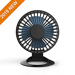 HFAN 2019 New Mini USB Desk Fan With Updated Strong Airflow, 3 Speeds, Whisper Quiet, 30° Adjustable Tilt Angle For Better Cooling, Perfect Portable Personal Fan For Desktop Office Table